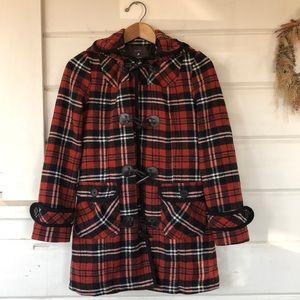Red Buffalo Plaid Hooded Toggle Coat